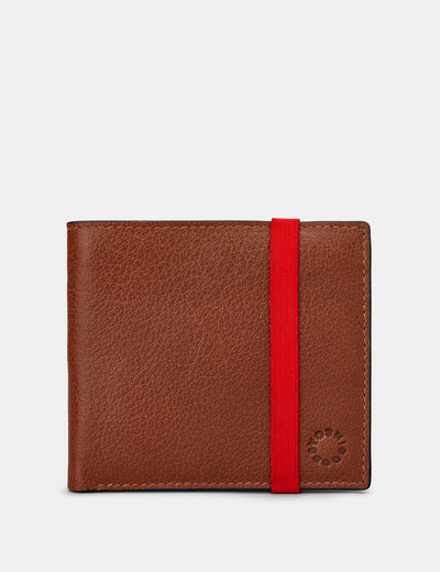 Two Fold East West Brown Leather Wallet With Elastic - Yoshi