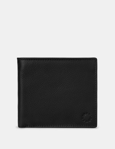 Two Fold East West Black Leather Wallet - Yoshi