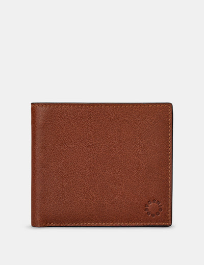 Two Fold East West Brown Leather Wallet - Yoshi