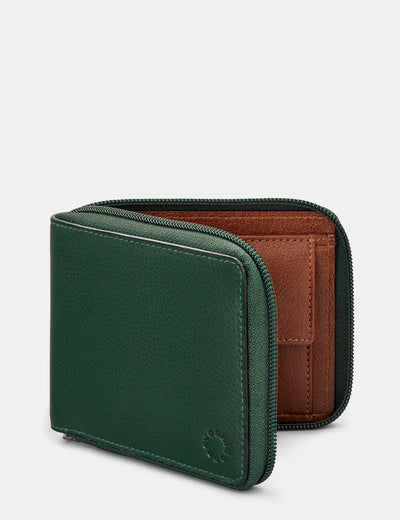 Zip Around Green And Brown Leather Wallet - Yoshi