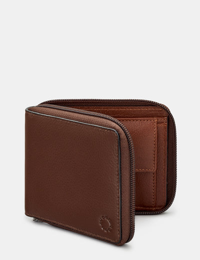 Zip Around Brown And Tan Leather Wallet - Yoshi