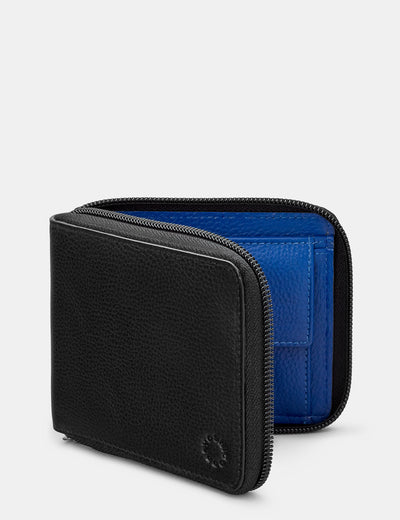 Zip Around Black And Blue Leather Wallet - Yoshi