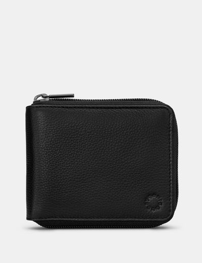 Zip Around Black Leather Wallet - Yoshi