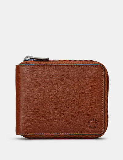 Zip Around Brown Leather Wallet - Yoshi