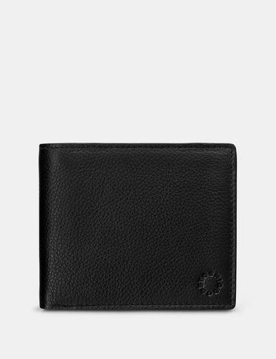 Extra Capacity Two Fold Black Leather Wallet - Yoshi