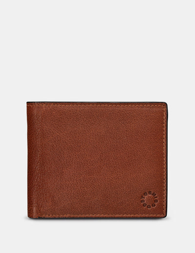 Extra Capacity Two Fold Brown Leather Wallet - Yoshi