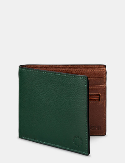 Racing Green And Brown Leather Wallet - Yoshi