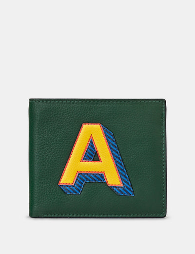 A Monogram Green Leather Wallet - Yoshi