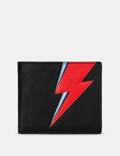 Lightning Bolt Black Leather Wallet - Yoshi