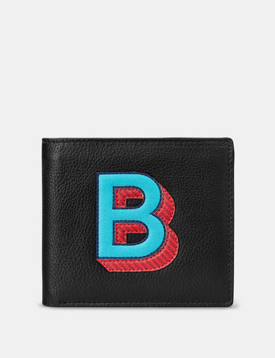 B Monogram Black Leather Wallet - Yoshi