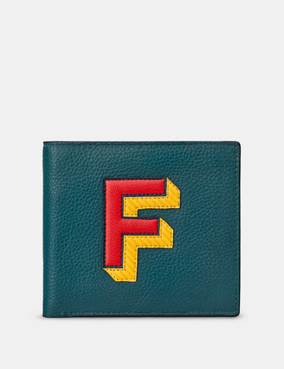 F Monogram Teal Leather Wallet - Yoshi
