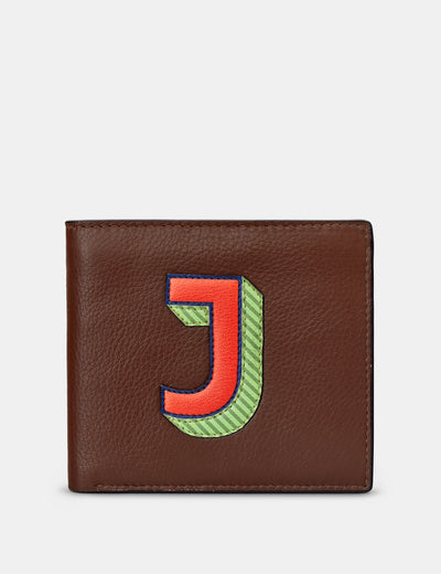 J Monogram Brown Leather Wallet - Yoshi
