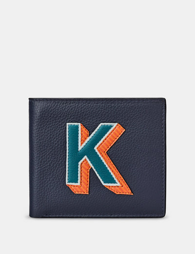 K Monogram Navy Leather Wallet - Yoshi