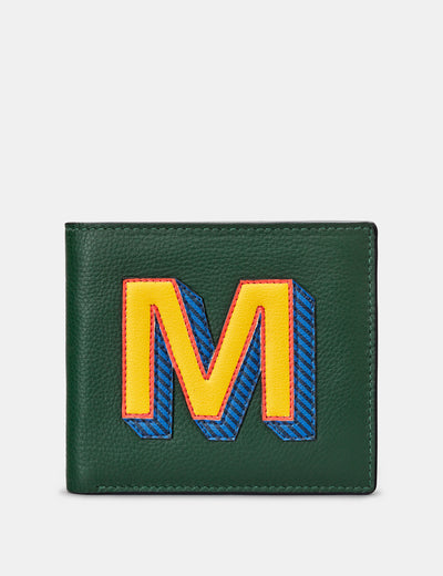 M Monogram Green Leather Wallet - Yoshi
