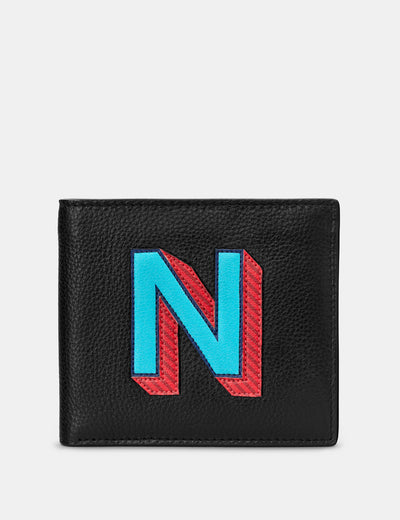 N Monogram Black Leather Wallet - Yoshi