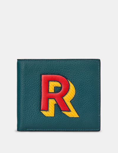 R Monogram Teal Leather Wallet - Yoshi