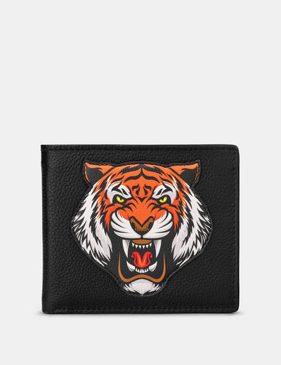 Tiger Black Leather Wallet - Yoshi