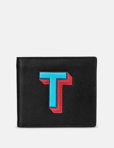 T Monogram Black Leather Wallet - Yoshi