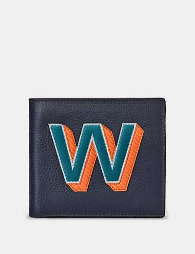 W Monogram Navy Leather Wallet - Yoshi