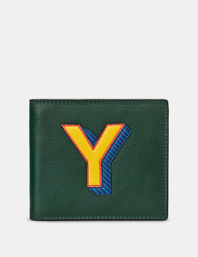 Y Monogram Green Leather Wallet - Yoshi