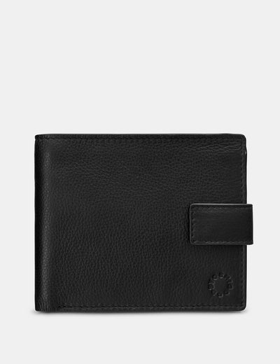 Two Fold Black Leather Wallet With Tab - Yoshi