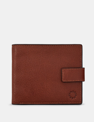 Two Fold Brown Leather Wallet With Tab - Yoshi