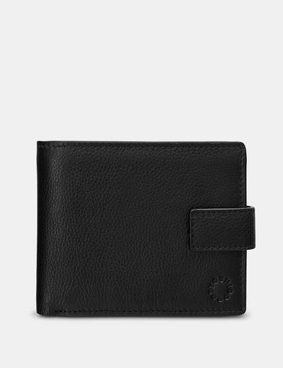 Extra Capacity Black Leather Wallet With Tab - Yoshi