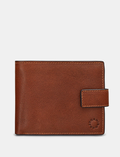 Extra Capacity Brown Leather Wallet With Tab - Yoshi