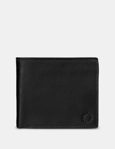 Extra Capacity Black Leather Wallet With Coin Pocket - Yoshi