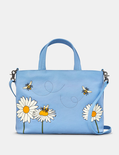 Bee Happy Blue Leather Multiway Grab Bag - Yoshi