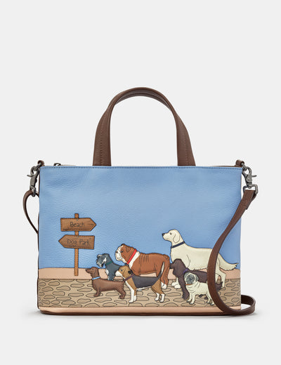Dog Walk Brown Leather Multiway Grab Bag - Yoshi
