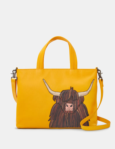 Highland Cow Yellow Leather Multiway Grab Bag - Yoshi