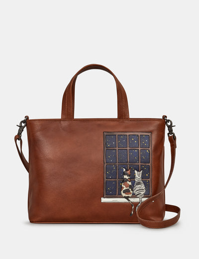 Midnight Cats Brown Leather Multiway Grab Bag - Yoshi
