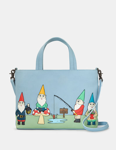 Gnome Sweet Gnome Blue Leather Multiway Grab Bag - Yoshi