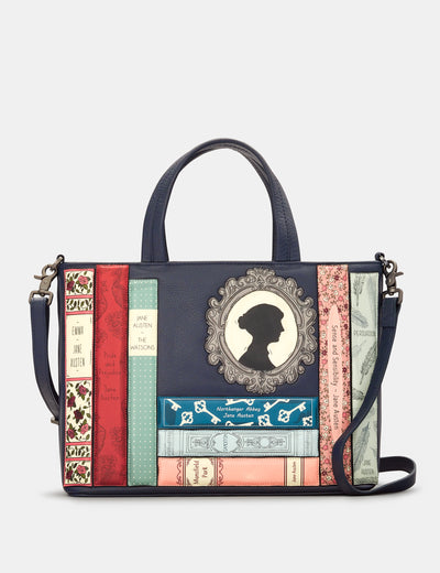 Jane Austen Bookworm Navy Leather Multiway Grab Bag - Yoshi