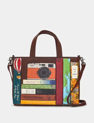 Travel Bookworm Brown Leather Multiway Grab Bag - Yoshi