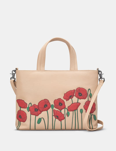 Poppy Flower Frappe Leather Multiway Grab Bag - Yoshi