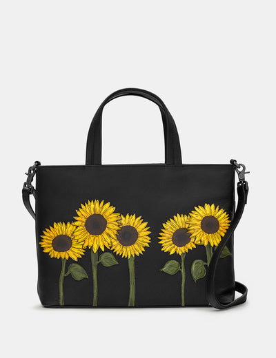 Sunflowers Black Leather Multiway Grab Bag - Yoshi