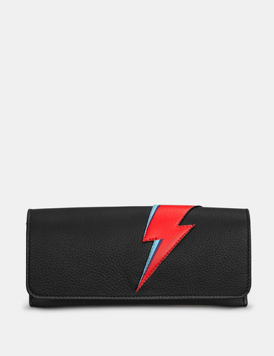 Lightning Bolt Black Leather Glasses Case - Yoshi
