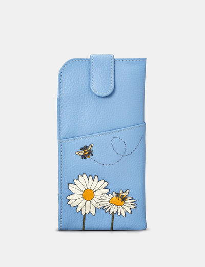 Bee Happy Blue Leather Chilton Glasses Case - Yoshi