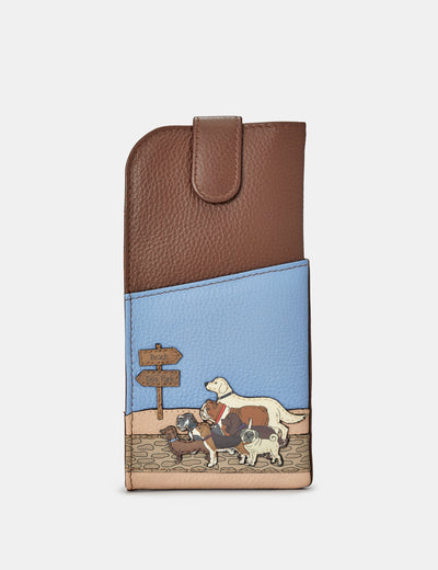 Dog Walk Brown Leather Chilton Glasses Case - Yoshi