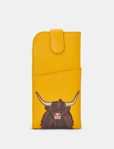 Highland Cow Yellow Leather Chilton Glasses Case - Yoshi