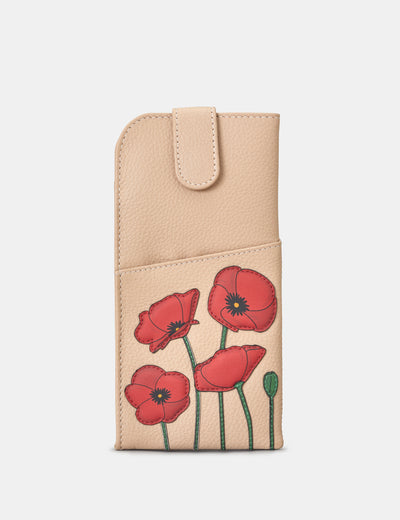 Poppy Flower Frappe Leather Chilton Glasses Case - Yoshi