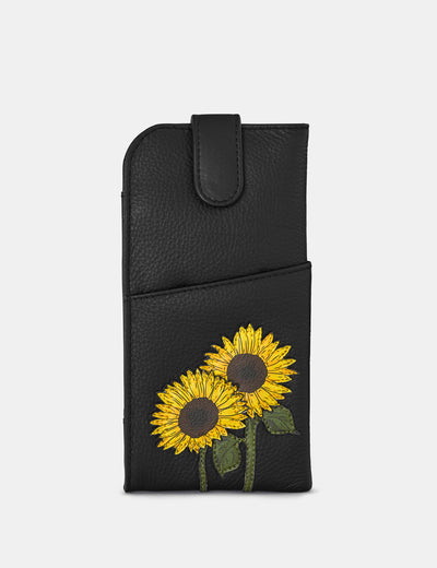 Sunflowers Black Leather Chilton Glasses Case - Yoshi