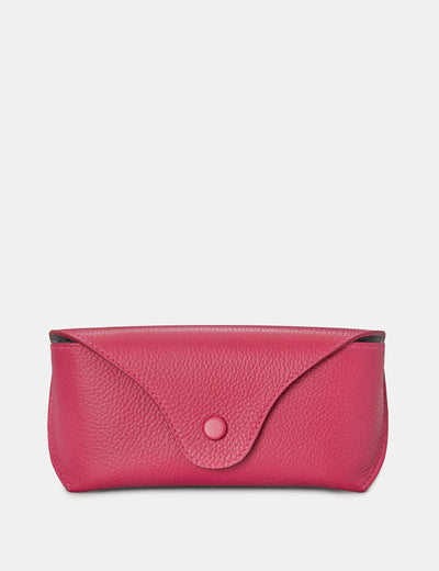 Raspberry Leather Atlantic Glasses Case - Yoshi