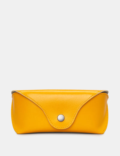 Mustard Yellow Leather Glasses Case - Yoshi