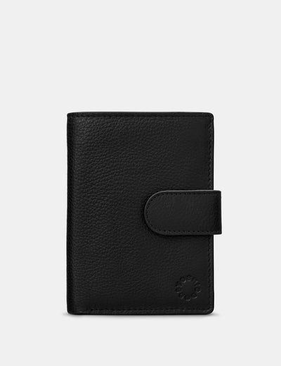Black Leather Card Holder Wallet With Tab - Yoshi