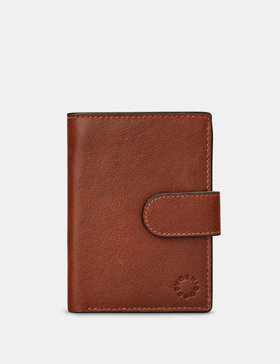 Brown Leather Card Holder Wallet With Tab - Yoshi