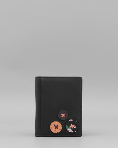 Black Leather Slim Credit Card Holder with Buttons a