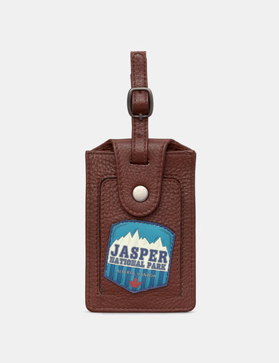 Happy Travels Brown Leather Luggage Tag Holder - Yoshi
